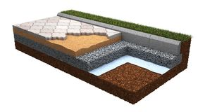Technology of Paving Laying. Stock Photo