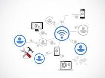 Technology people network illustration Royalty Free Stock Photo