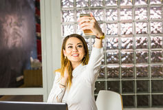 Free Technology, Photographing, And People Concept - Happy Woman Taking Selfie With Smartphone Or Camera Royalty Free Stock Photos - 74147698