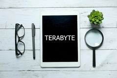 Technology phrase term concept. Top view of glasses,pen,plant,magnifying glass and tablet written with Terabyte on white wooden stock image