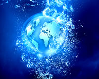 Technology planet under water Royalty Free Stock Image
