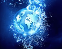 Technology planet under water Stock Image