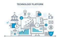 Technology platform. Cloud storage, network. Business, financial and innovative platform. Technology platform. Cloud storage and network. Business, financial Stock Photo