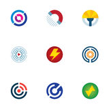 Technology power abstract circle signal wave science logo icons set Stock Images