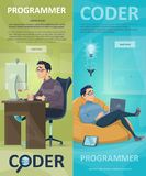 Technology Programming Vertical Banners stock illustration