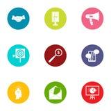Technology of progress icons set, flat style. Technology of progress icons set. Flat set of 9 technology of progress vector icons for web isolated on white Stock Image