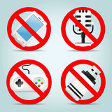 Technology prohibited signs Royalty Free Stock Photo