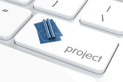 Technology project blueprint on the white enter computer keyboar Stock Images