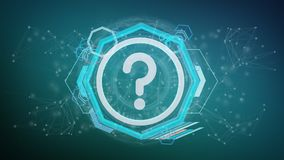 Technology question mark icon on a circle isolated on a background 3d rendering. View of a Technology question mark icon on a circle isolated on a background 3d stock illustration