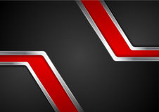 Technology red and black background with metal silver stripes Royalty Free Stock Image