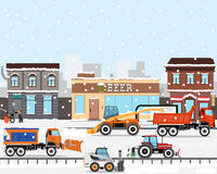 Technology removes snow from city. Heavy Equipment cleans the road in the storm of snow in the city. Snow removers. Road works. Vector illustration Royalty Free Stock Photography