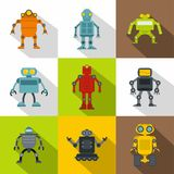 Technology robot icon set, flat style. Technology robot icon set. Flat style set of 9 technology robot vector icons for web design Royalty Free Stock Image