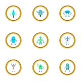 Technology robot icons set, cartoon style. Technology robot icons set. Cartoon style set of 9 technology robot vector icons for web design Royalty Free Stock Photography