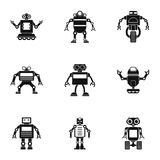 Technology robot icons set, simple style. Technology robot icons set. Simple set of 9 technology robot vector icons for web isolated on white background Royalty Free Stock Photos
