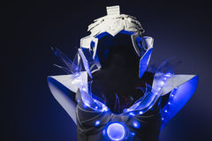 technology robot, white suit with transparent plastic and LED li Stock Photography
