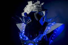 technology, robotic spacesuit with blue lights and transparent s Stock Photo