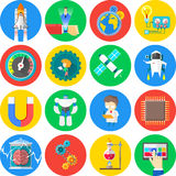 16 Technology and Science flat icons. Sixteen Technology and Science flat icons Stock Images