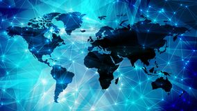Technology science news background digital wires dots and world map. Connected dots with lines and graphic world map, creative abstract background. Global royalty free stock photo