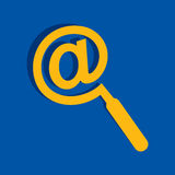 Technology search concept - Mail symbol male a magnifier icon Stock Photo