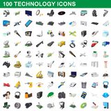 100 technology set, cartoon style. 100 technology set in cartoon style for any design illustration vector illustration