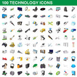 100 technology set, cartoon style Stock Image