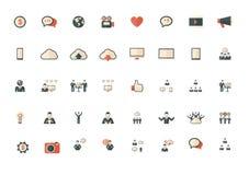 Technology set of flat icons Stock Photos