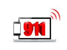 911 technology sign concept illustration. Design over white Stock Images