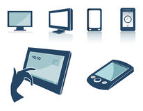 Technology silhouettes. Cartoon silhouette of technology silhouettes Royalty Free Stock Image
