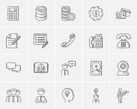Technology sketch icon set. Technology sketch icon set for web, mobile and infographics. Hand drawn technology icon set. Technology vector icon set. Technology Royalty Free Stock Photo
