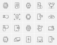 Technology sketch icon set. Stock Photo