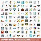 100 technology skill icons set, flat style. 100 technology skill icons set in flat style for any design vector illustration Stock Image