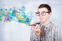 Technology smart man browsing smartphone apps Royalty Free Stock Images