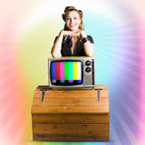 Technology Smart Pinup Woman On Retro Color TV Stock Photos