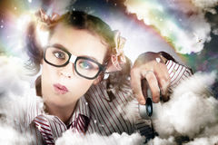Technology Smart Woman Using Cloud Computing Royalty Free Stock Photography