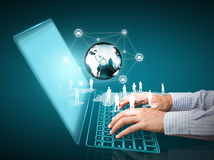 Technology with social network structure Royalty Free Stock Image