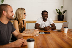 Technology startup team meeting royalty free stock image