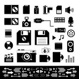 Technology and storage icons set Stock Photography