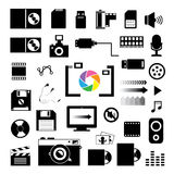 Technology and storage icons set Stock Images