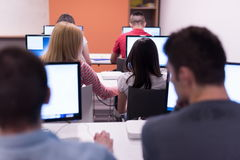 Technology students group working  in computer lab school  class Stock Photography