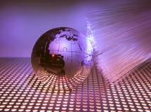 Technology style against fiber optic background Stock Photography