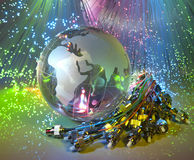 Technology style against fiber optic background Stock Photo