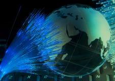 Technology style against fiber optic background Stock Image