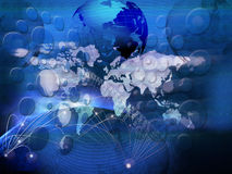 Technology of telecommunication created world business network Stock Photos