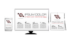 Technology template. Mobile, pc, tablet royalty free illustration