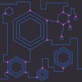 Technology theme background with hexagonal elements. Stock Photos