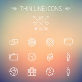 Technology thin line icon set Stock Photo