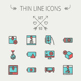 Technology thin line icon set. For web and mobile. Set includes-3D printer, 3d box, tv with speakers, battery. Modern minimalistic flat design. Vector icon with Stock Photo