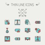 Technology thin line icon set Stock Photo