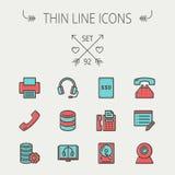 Technology thin line icon set Royalty Free Stock Photo