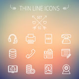 Technology thin line icon set Royalty Free Stock Photography